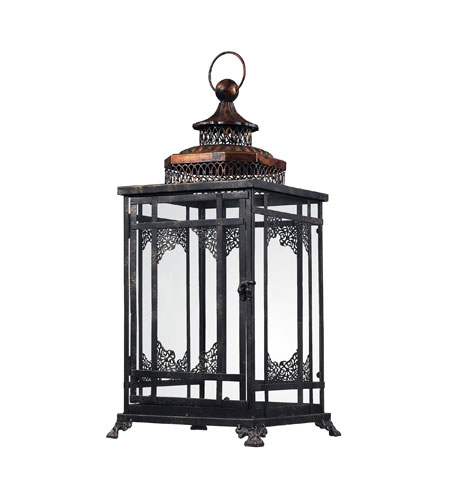Sterling Industries Black And Gold Hurricane Lantern Decorative Accessory in Antique Black With Cassis Gold 128-1013 photo