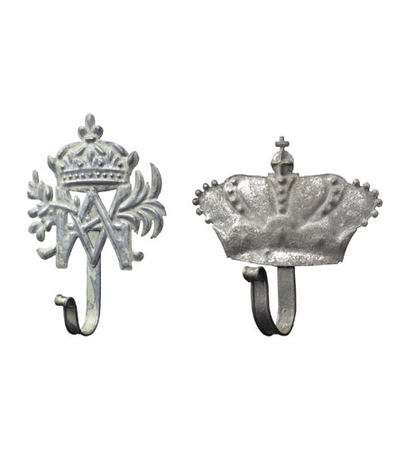 Sterling Industries Set Of 2 Metal Crown Hooks Decorative Accessory in Aluminium 128-1018/S2 photo