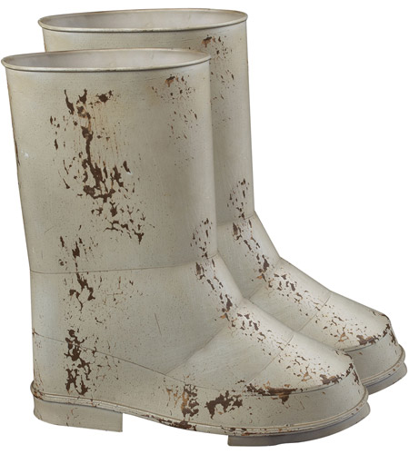 Sterling Industries Set Of 2 Boot Planters Decorative Accessory in Distressed Country Cream 128-1019/S2 photo