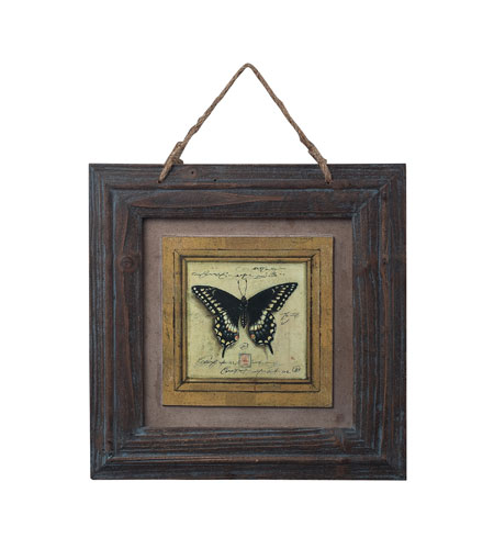 Sterling Industries Picture Frame With Butterfly Print Decorative Accessory in Burnt Oak With Blue Antique 128-1025 photo