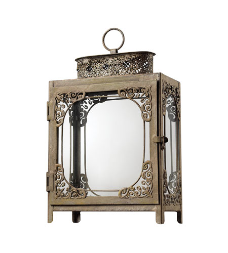 Sterling Industries Distressed White Hurricane Lantern Decorative Accessory in Matupa Cream 128-1030 photo