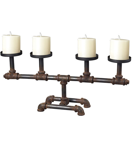 Sterling Industries Industrial Pipe Candle Holder Decorative Accessory in Restoration Rusted Black 129-1007 photo