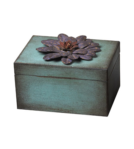 Sterling Industries Wooden / Metal Flower Keep Sake Box - Purple Decorative Accessory in Rosa / Purple 129-1015 photo