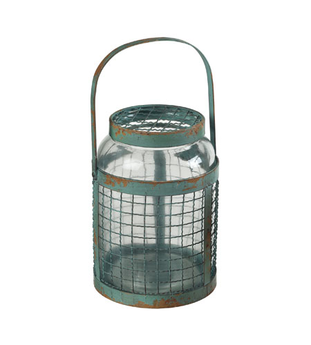Sterling Industries Glass & Metal Mesh Hurricane in Rimrock Blue 129-1041 photo