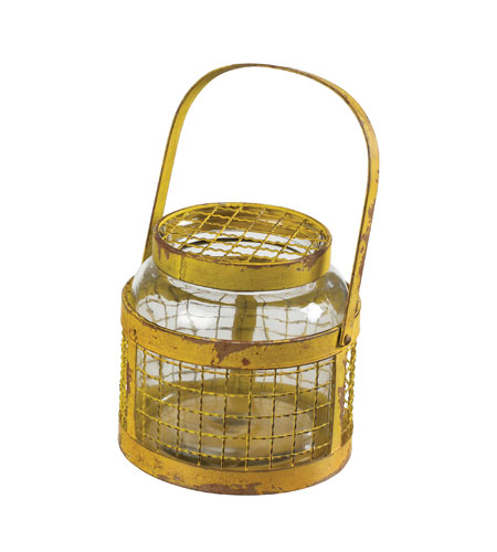 Sterling Industries Glass & Metal Mesh Hurricane in Rimrock Yellow 129-1042 photo
