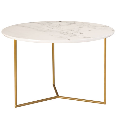 Sterling 1572 018 Glacier 24 X Inch Gold And White Printed Marble Side Table