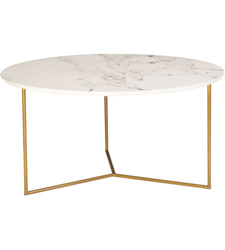 Sterling 1572 019 Glacier 32 X 32 Inch Gold And White Printed Marble Coffee  Table