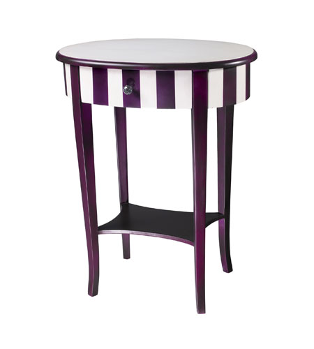 Sterling Industries Purple / White Striped Side Table 24-9256 photo