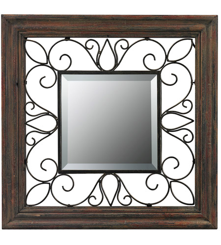 Sterling 26-8652 Wood Framed 19 X 19 inch Redwood and Iron Wall Mirror photo