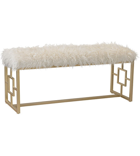 Miraculous Sterling 3169 020 Betty Gold White Faux Fur Bench Squirreltailoven Fun Painted Chair Ideas Images Squirreltailovenorg