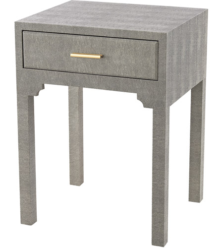 Sterling 3169 026S Sands Point 22 X 16 Inch Grey Faux Shagreen Side Table,  1 Drawer