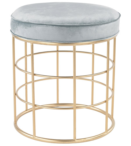 Sterling 3169 032 Beverly Glen 21 Inch Gold Duck Egg Blue Accent Stool