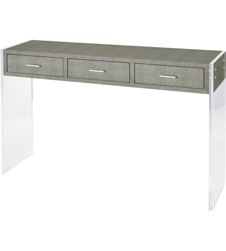 Sterling 3169 066 Monaco Ville 48 X 12 Inch Grey Faux Shagreen And Clear  Acrylic Console Table