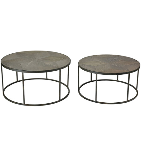 Sterling 3200 135 S2 Circa 36 X 18 Inch Hazelnut And Grey Iron Coffee Tables Set Of 2