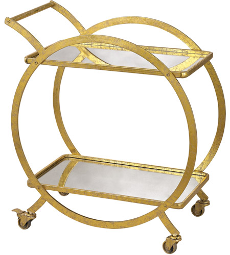 Sterling 351-10212 Signature Gold & Antique Mirror Bar Cart photo