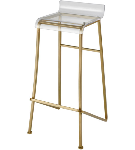 Sterling 351 10263 Hyperion 34 Inch Aged Gold And Clear Bar Stool