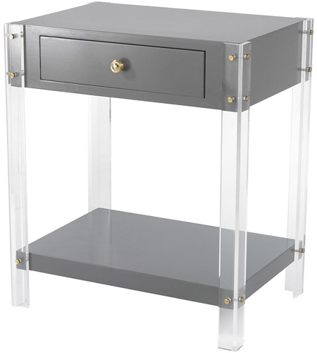 Good Sterling 351 10272 Gothenburg 21 X 15 Inch Grey, Clear Accent Table Home  Decor, 1 Drawer