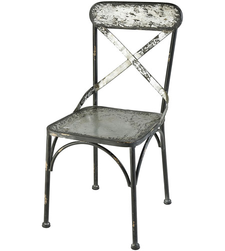 Sterling 351 10521 Cross Bronx Galvanized Steel And Black Antique Accent  Chair