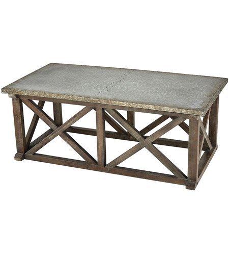 Sterling 351 10542 Klad 47 X 18 Inch Salvaged Grey Oak With Galvanized Steel Coffee Table