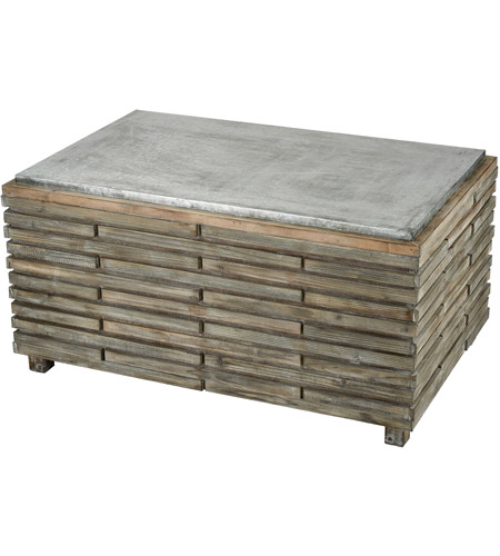 Sterling 351 10594 Boone 48 X 25 Inch Salvaged Grey Oak And Galvanized Steel Coffee Table
