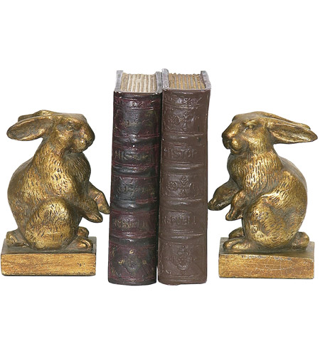 Sterling Industries Pair Baby Rabbit Bookends Decorative Accessory in Gold 4-83037 photo