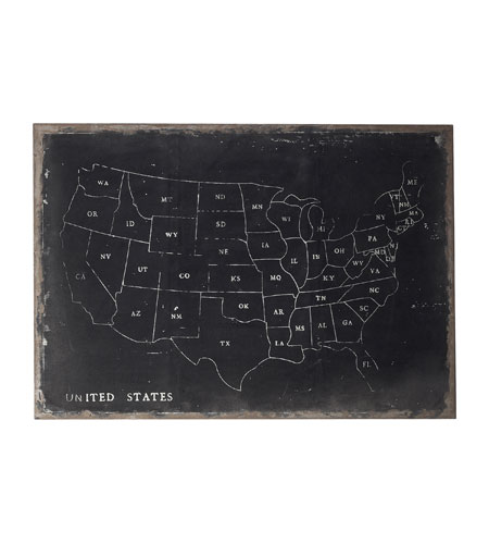 Sterling Industries Chalk Outline Map Of Usa On Black Canvass Wall Art in Black / Chalk 51-10006 photo