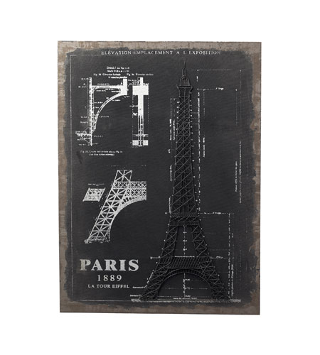 Sterling Industries Surveyors Chalk Sketch And Outline - Paris Wall Art in Black / Chalk 51-10007 photo