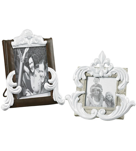 Sterling Industries Set of 2 Picture Frames in Richland Grey / Bronze With White 51-10064 photo