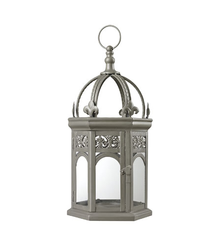 Sterling Industries Metallic Grey Hurricane Lantern in Sentry Silver 51-10065 photo