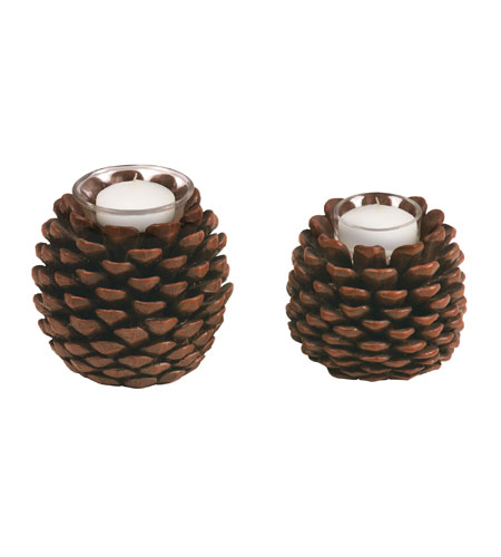 Sterling Industries Set of 2 Pinecone Votives Decorative Accessory 87-1993 photo
