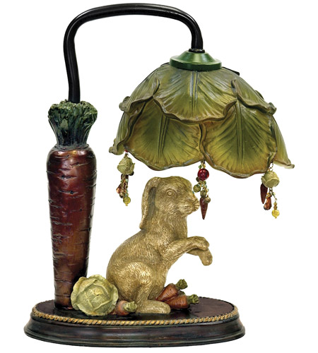 Sterling Industries Rabbit Under Leaf 1 Light Table Lamp in Alman Antique White / Green 91-297 photo