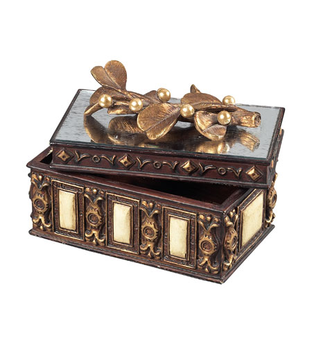 Sterling Industries Keepsake Box With Mirrored Top Decorative Accessory in Barington Bronze 93-10048 photo