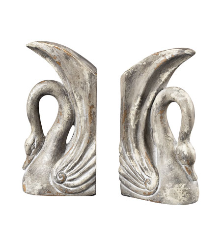 Sterling Industries Swan Bookends Decorative Accessory in Restoration Grey 93-10058/S2 photo