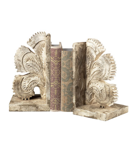 Sterling Industries Carved Fan Bookends Decorative Accessory in Vintage White 93-10061/S2 photo