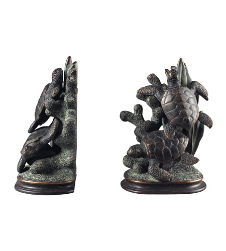 Sterling Industries Swimming Turtle Bookends Decorative Accessory in Solemant 93-10077/S2 photo