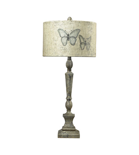 Sterling Industries Handpainted Butterfly Shade Table Lamp in Hastings Silver 93-19260 photo