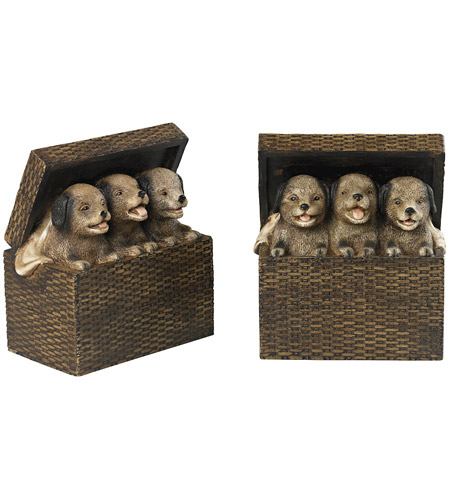 Sterling 93-19312/S2 Puppies in Baskets 14 X 4 inch Sills Natural Rattan Bookends photo