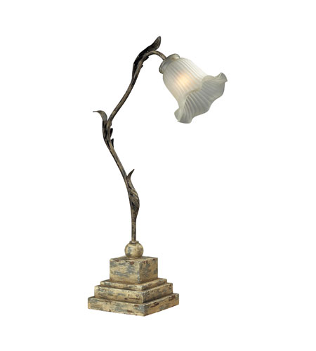 Sterling Industries Floral Glass Shade Table Lamp in Avignon White 93-9196 photo