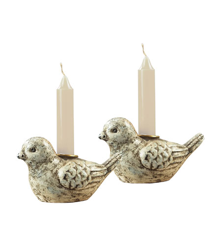 Sterling Industries Mini Bird Candle Holders Decorative Accessory in Minsk White 93-9204 photo