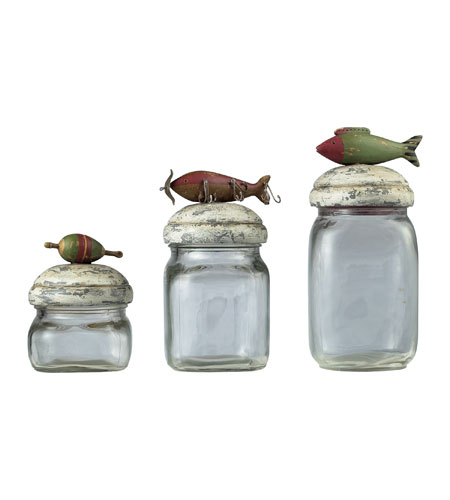 Sterling Industries Fly Fishin Lure Storage Jars Decorative Accessory 93-9209 photo