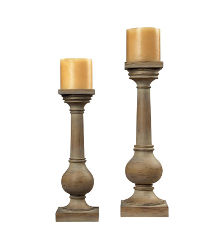 Sterling Industries Bleached Wood Post Candel Holders Decorative Accessory 93-9249 photo