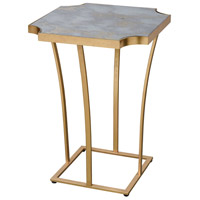 Xanadu 18 inch Gold Leaf/Faux Grey Marble Accent Table