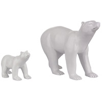 Sterling Set of 2 Polar Bear Statuary in White 112-1133/S2