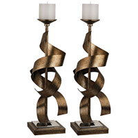 Sterling Set of 2 Metal Sculpture Candle Holder in Gold 112-1148/S2