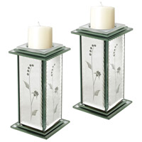 Sterling Set of 2 Venetian Candle Holder in Clear 114-50/S2