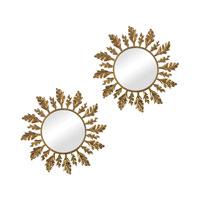 Sterling Set of 2 Leaf Mirror in Gold 114-77/S2
