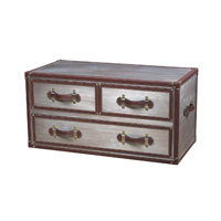 Sterling Industries Cargo Chest In Chrome And Tan in Chrome / Tan 116-009