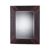 Sterling Industries Faux Leather Framed Mirror Rectangle in Espresso / Tan 116-011