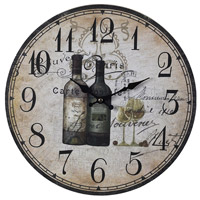French Wine Bottles 13 X 13 inch Wall Clock
