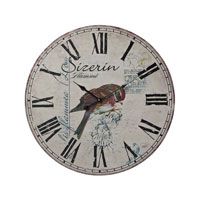 Sterling Industries Robin On Branch Printed Clock in Printed Color 118-039